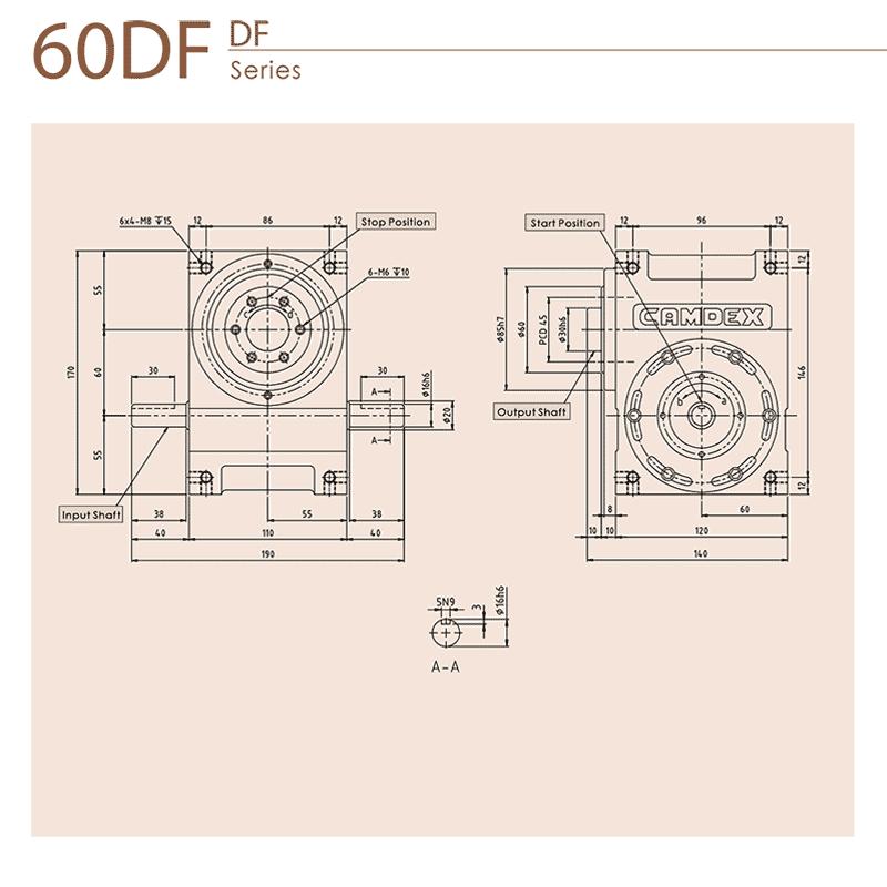 گیربکس ایندکس کامدکس مدل RU60DF